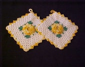 """Vintage Crochet Pot Holders Floral Center 5""""x5"""" Yellow & White Home Decor Linens Cottage Chic Heirloom Quality Gift For Her"""