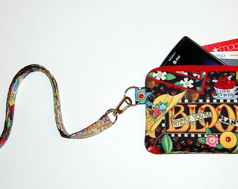 Wallet Zipper Pouch with Removable Lanyard - Cell Phone Pouch / iPhone Pouch / ID Holder - Handcrafted from Mary's Mottos