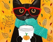 Pumpkin Coffee - Autumn Cat Folk Art Print 8x10, 11x14