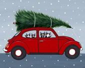 Bringing Home The Christmas Tree - Original Cat Folk Art Painting