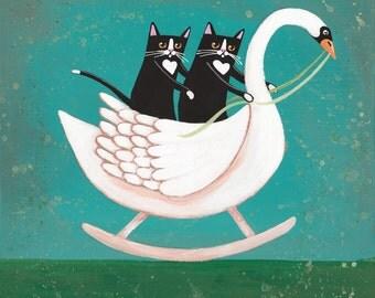 Rocking Swan and Cats - Original Cat Folk Art Painting