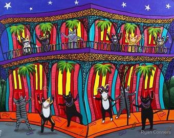 Mardi Gras Cats - Cat Folk Art Print 8x10, 11x14