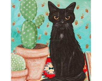 CAT Art Southwestern Black Cat & Cactus Original CAT Folk Art Acrylic Painting