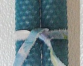 """BEESWAX Taper Candles HANDROLLED --Dinner Candles--8""""--Light Blue"""