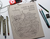 Land and Sea Coloring Book, Coloring Book of Nature Inspired Drawings, Adult Coloring, Meditation Coloring Therapy, Botanical Art