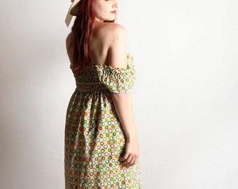 ON SALE Vintage Off Shoulder Dress - Cotton Smocked Hippie Boho Geometric Print 1970s Dress - Small Medium