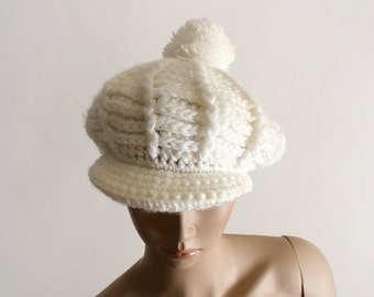 ON SALE Vintage Knit Tam Hat - Pure White Pom Pom Crochet Beret