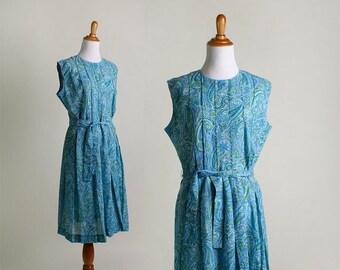 ON SALE Vintage 1950s Dress - Paisley Blue and Mint Green Floral Cotton Dress - Large XL