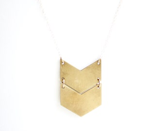 Geometric Double Chevron Necklace - Brass | Stainless Steel | 14k Gold Filled | Sterling Silver