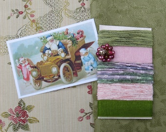 Christmas Collage Inspiration Kit, Pink & Green ... Vintage Victorian Santa, Fabric Image, Ciggie...Textiles, fiber, trim, ribbon, adornment