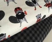 Burly Beavers Fabric Bundle of 2, Hipster fabric, Lumberjack, Animal fabric, Plaid, Robert Kaufman- Choose the cuts, Free Shipping Available
