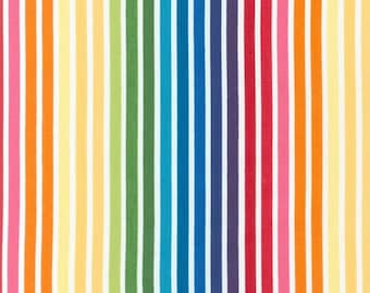 Remix fabric, Back to School fabric, Rainbow fabric, Stripe fabric, Ann Kelle by Robert Kaufman, Remix Stripe in Bright, Choose the Cut