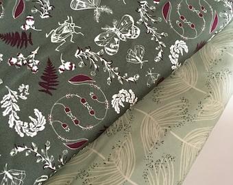 Forest Floor Fabric  bundle of 2, Nature fabric by Bonnie Christine, Art Gallery Fabric, Tree fabric, Mushroom fabric, Woodland Animals