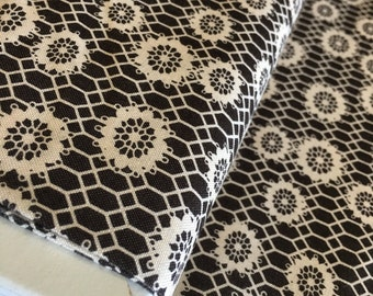 SALE fabric, Brown Fabric, Moda fabric, Denise Schmidt, Ansonia Honeycomb Lace, Cotton fabric by the Yard, Black fabric - Choose the Cut