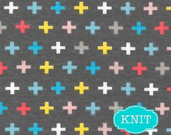 KNIT fabric, Stretch Cotton fabric, Plus fabric, Geometric fabric, Apparel Fabric by Robert Kaufman, Boho Fabric, Remix Plus in Grey
