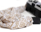 Scarf Camera Strap - Camera Scarf Strap - Gold and White Scarf Strap