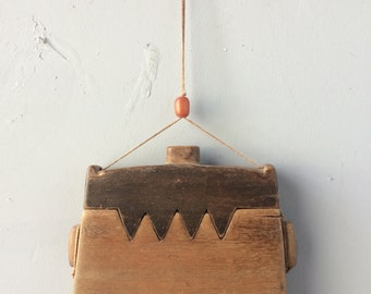VINTAGE...purse/holder hand made little wood box, for hanging, bohemian chic fashion rustic necklace