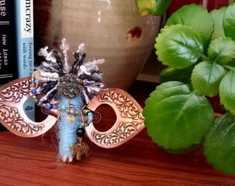 one of a kind muse angel magnet handcrafted from repurposed vintage jewelry and glass beads