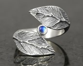 Rainbow moonstone cabochon leaf ring in sterling silver - elf pixie tribal boho