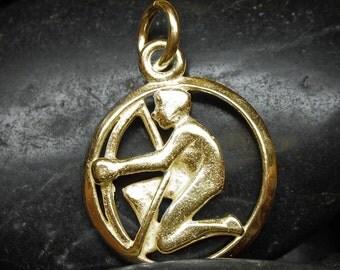 Solid gold Sagittarius zodiac pendant