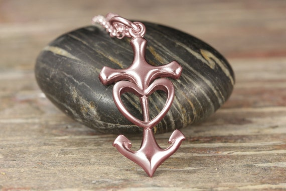 Gold Anchor Heart Pendant - Available in white gold, rose gold and yellow gold