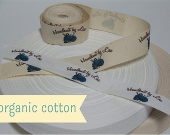 Your Custom Labels Printed in Full Color on Organic Cotton Twill Ribbon  - LOTS of Designs to Choose From OR Use Your Logo - 8 Yards