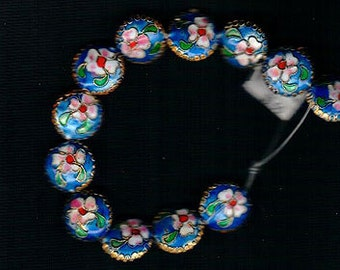 12pcs 14mm Round Coin Shape Blue Gold Cloisonne Beads Pink Green White Enameled Flowers