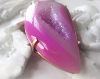 Gemstone Pendant Pink Agate Pendant Fuschia Druzy Pendant Pendant Item No. 0523-2 0241-2