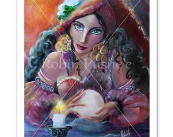 Gypsy, Fortune teller, by candlelight, 11x14 size print