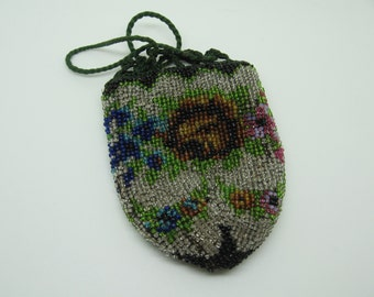 Antique Glass Beaded Child or Coin Drawstring Purse