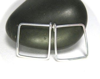 Square Hoop Earrings- Medium Hoops, Handmade Silver Jewelry