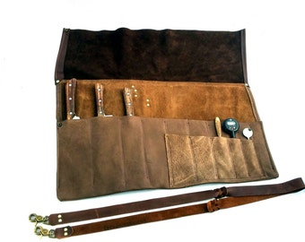 Chef's Leather Knife Roll with Shoulder Strap