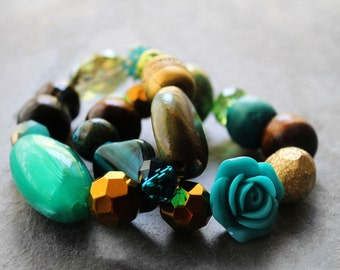 Stretch Bracelets, Beaded Bracelets, Chunky Bracelets, Bracelet Set, Turquoise, For Her, Sea Breeze Beaded Stretch Bracelet Set
