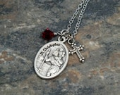 Reversible St. Christopher and Guardian Angel Medal Necklace with Swarovski Crystal and Cross Charms, Saint Necklace, Catholic Jewelry