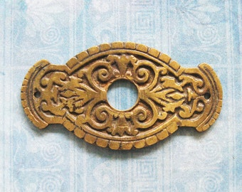 Brass Eastlake Escutcheon Furniture Rosette Antique Art Deco Medallion Embellishment Hardware Plate