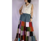 Boho hippie soft cotton patchwork elastic waist long skirt (PW 02)