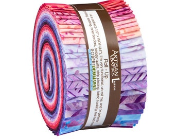 "Robert Kaufman SPLENDID BATIKS Roll Up 2.5"" Precut Fabric Quilting Strips Jelly Roll Lunn Studios RU-591-40"