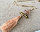 Dara Ettinger Multicolor Tassel and stone Necklace