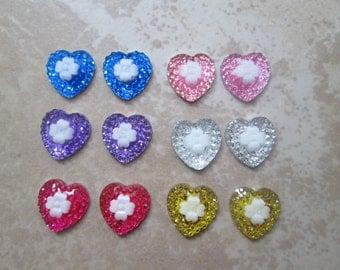Glitter Heart with Flower Magnetic Clip On Earrings