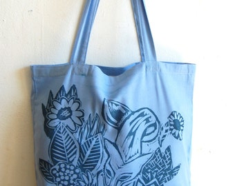 Fox hand stamped cotton canvas tote bag blue