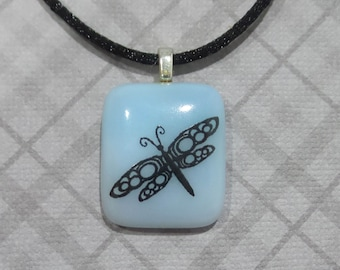 Dragonfly Necklace, Small Sky Blue Pendant, Black Dragonfly, Fused Glass Jewelry, Good Luck - Delicate Wings - 5