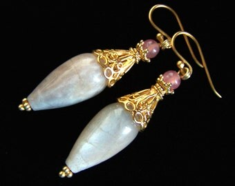 LG Sunstone earrings Rhodochrosite Gold Vermeil Lacy Royal Fine large drop teardrop plumpy statement pink sand color Pink Owl Jewelry