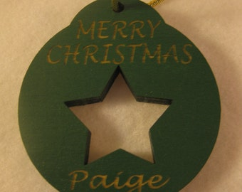 Personalized wooden christmas cut out Star ornament or gift tag