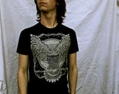 Black Owl T-shirt Bird of Prey Spooky Moon Made in USA Cotton Unisex S M L XL 2X