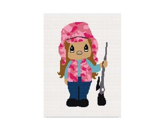 INSTANT DOWNLOAD Chella Crochet Little Girl Hunter in Pink Camouflage Afghan Crochet Pattern