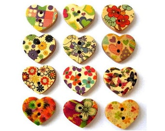 120 Buttons, wood heart shape,set of 12 kinds colorful ornaments