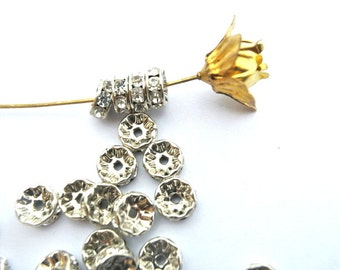 6 Vintage Swarovski rondelle beads clear crystal rhinestone on silver color base 8mm spacer beads