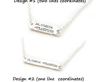 Latitude Longitude Necklace, Hand Stamped Sideway Necklace, Personalized Hammered GPS Coordinates gift