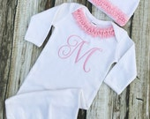 Baby Girl Coming Home Outfit, Baby Girl Clothes, Bodysuit, Hat, Baby Girl Gift, Personalized Baby Outfit, Monogram