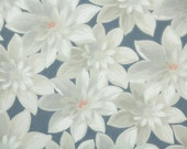 1950s Vintage Wallpaper by the Yard - Gray and White Tropical Flowers on Blue